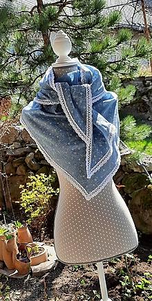 Šatky - Veľká šatka s čipkou, tromi rúškami a vreckom_ modrá jeans - 13335926_