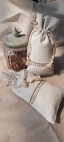 Úžitkový textil - Ľanové vrecúško na bylinky, huby, strukoviny....číslice - 13336173_