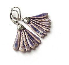 Náušnice - Keramické náušnice kvietky fialové - 13338787_