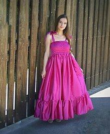Šaty - Dlhé saténové šaty s riasením - 13338368_
