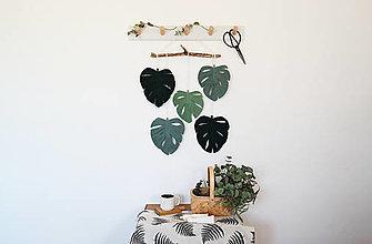 Dekorácie - Macramé dekorácia MONSTERA (Lesná zelená, eukalyptová, starozelená) - 13337150_