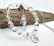 Sady šperkov - Ochranný krištáľový set (náramok + anjelik na oceľovej retiazke) - 13338443_