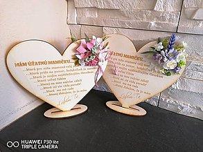 Tabuľky - Kvetinove srdce na podstavci pre mamičku staroruzove - 13335970_