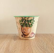 Nádoby - plechový kvetináč na bylinky - 13339541_