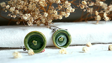 Náušnice - keramické náušnice č.375_ zelené srdce - 13339762_