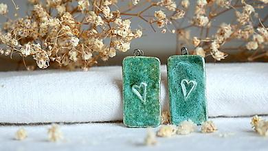 Náušnice - keramické náušnice č.376_ zelené srdiečka - 13339771_