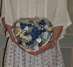 Dekorácie - Srdce s modrými ružami s nápisom HOME - 13342667_