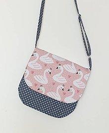 Detské tašky - Detská kabelka modrá  (Malé bodky labuťky) - 13341282_