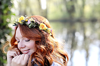 """Ozdoby do vlasov - Kvetinový polvenček """"slnko pri brieždení"""" - 13340632_"""
