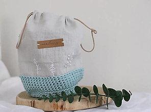 Úžitkový textil - ľanové háčkované vrecúško - azúrové   miniberry - 13339814_