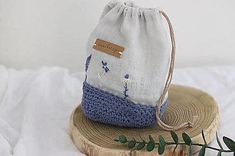 Úžitkový textil - ľanové háčkované vrecúško - ľanovomodrá   miniberry - 13339825_