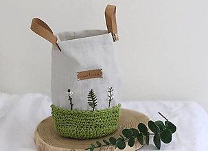 Košíky - ľanový háčkovaný košík - svieži zelený   miniberry - 13339838_