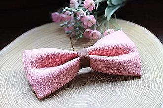 Doplnky - ľanový motýlik - jemne ružový   miniberry - 13339915_