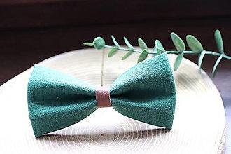 Doplnky - ľanový motýlik - lesná zelená   miniberry - 13339924_