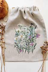 Úžitkový textil - Ľanové vrecúško na chlieb, na lúke - 13342771_