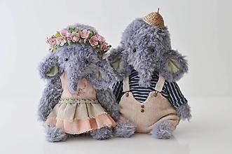 Hračky - Háčkované sloníky Lina&Hugo - 13341855_