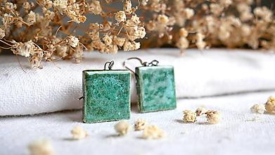 Náušnice - keramické náušnice č.377_ zelené štvorce - 13342892_