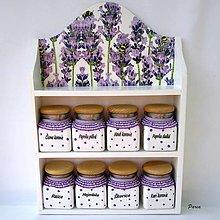 Nádoby - Polička s dózičkami - Levanduľa a včielky - 13345234_