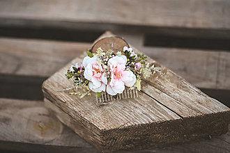 Ozdoby do vlasov - Kvetinový hrebienok biela romantika - 13342818_