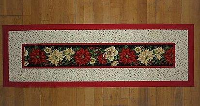 Úžitkový textil - Obrus, štóla s vianočnou ružou - 13344770_