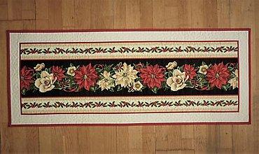 Úžitkový textil - Obrus, štóla s vianočnou ružou - 13344893_