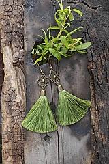 Náušnice - Náušnice strapcové zelené - 13345183_