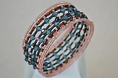 Náramky - Náramok medený so smaragdovými guľôčkami - 13344390_