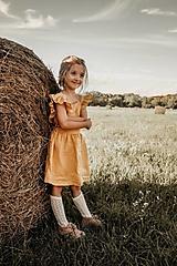 Detské oblečenie - Vtáča - dievčenské ľanové šaty s volánmi a mašľou (akákoľvek iná zo vzorkovníka) - 13343607_