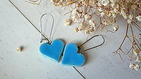 Náušnice - keramické náušnice č.382_ srdiečko modré - 13346566_