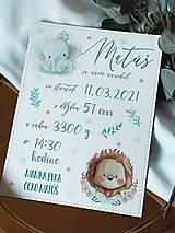 Detské doplnky - Tabuľka pre bábätko s údajmi o narodení levík a sloník - 13348488_