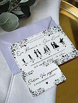 Papiernictvo - Svadobné oznámenie 107 príbeh lásky fialové kvety - 13348489_