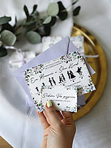 Papiernictvo - Svadobné oznámenie 107 príbeh lásky fialové kvety - 13348490_