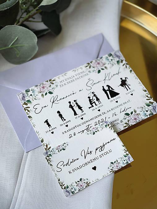 Svadobné oznámenie 107 príbeh lásky fialové kvety