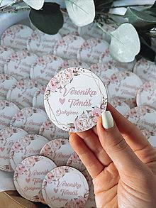 Darčeky pre svadobčanov - Magnetky pre svadobčanov ružové ruže - 13348534_