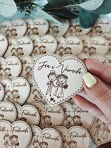 Darčeky pre svadobčanov - Magnetky pre svadobných hostí párik - 13348551_