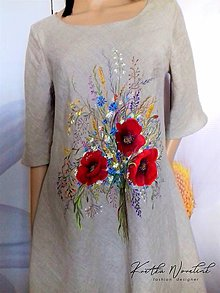 """Šaty - Ľanové, ručne maľované šaty """" Lúčna kytica s makmi """" (prírodný ľan, viac do šeda + kytica s makmi) - 13346160_"""