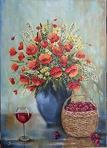 Obrazy - Červenéé...maky,vínko, čerešne - 13347616_