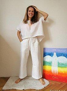Iné oblečenie - Ľanový kostým biely - 13346958_