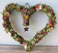 """Dekorácie - Kvetinové srdce""""Pauline"""" - 13346264_"""