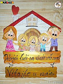 Tabuľky - Menovka - rodinka a domček - 13346325_