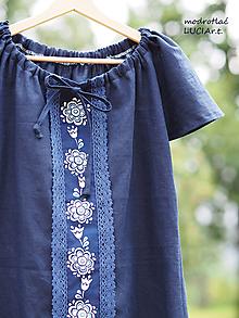 Topy - Blúzka dvojfarebná modrotlač - 13346429_