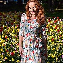 """Šaty - EVITA - zavinovacie šaty """"ružovooranžové kvietky"""" - 13348174_"""