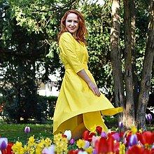 Šaty - GRÉTA - zavinovacie šaty z prémiovej bavlny (Žlté) - 13348259_