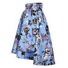 Sukne - ANNA - elegantná asymetrická zavinovacia sukňa (kvetinová modrá) - 13348277_