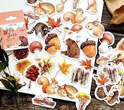 Papier - NA158 Krabička nálepiek - lesné zvieratká a plody 45 kusov - 13345782_