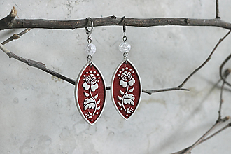 Náušnice - Ľudovky ~ kvetinky s krištáľom - visiace náušnice - 13345611_