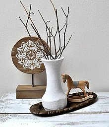 Dekorácie - Drevená váza - biela - 13346116_