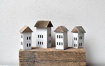 Dekorácie - Malé drevené domčeky - sada - 13346219_