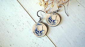 Náušnice - keramické náušnice č.384_ modrý tuliPÁN - 13351103_