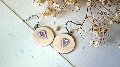 Náušnice - keramické náušnice č.385_ fialové srdiečko - 13351121_